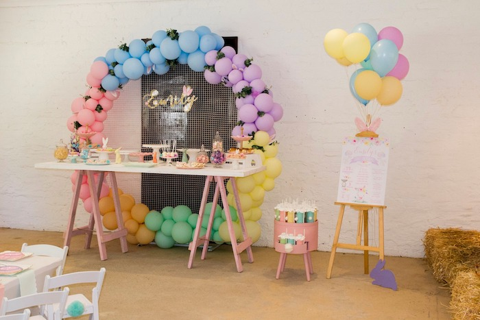 Balloon Circle Dessert Table from a Some Bunny is One Birthday Party on Kara's Party Ideas | KarasPartyIdeas.com (5)