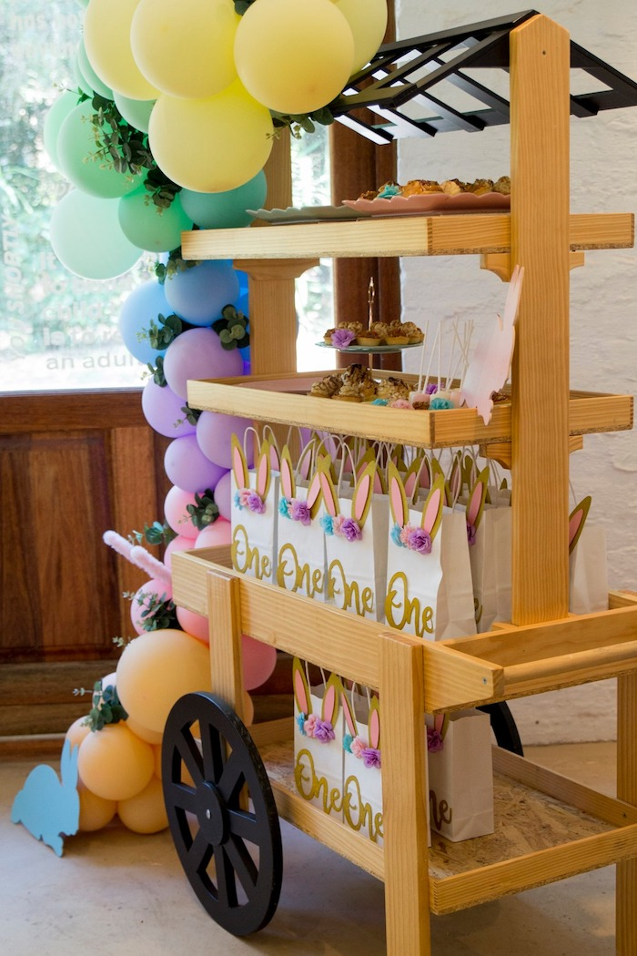 Wooden Favor Cart from a Some Bunny is One Birthday Party on Kara's Party Ideas | KarasPartyIdeas.com (43)