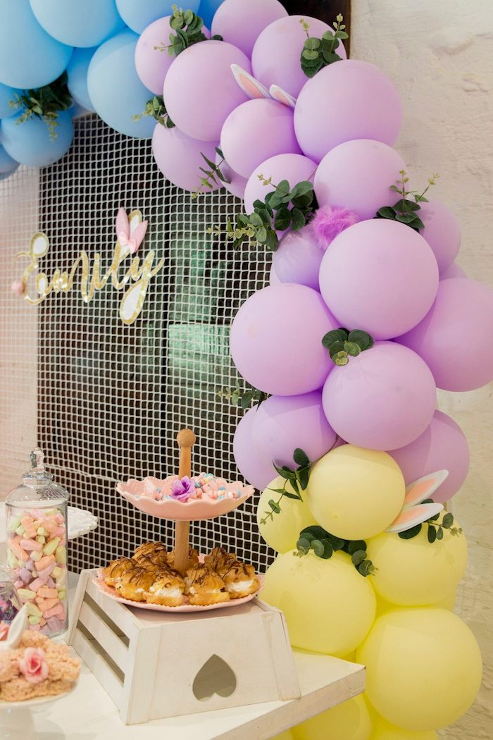 Dessert Table Balloon Garland from a Some Bunny is One Birthday Party on Kara's Party Ideas | KarasPartyIdeas.com (42)