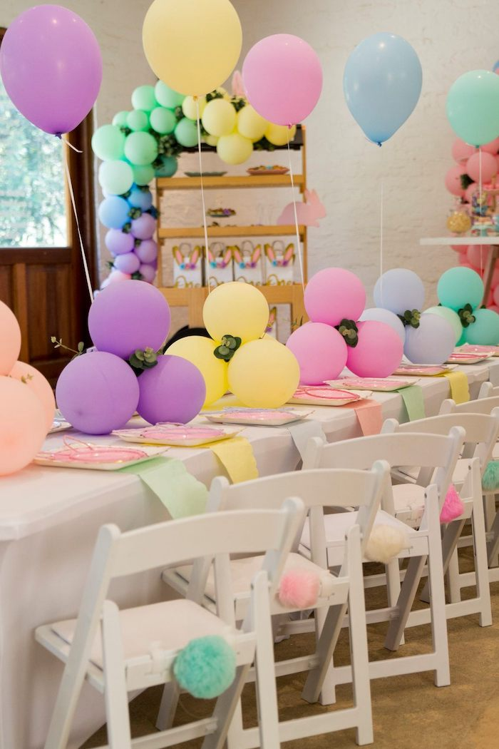 Pastel Bunny Themed Guest Table from a Some Bunny is One Birthday Party on Kara's Party Ideas | KarasPartyIdeas.com (40)
