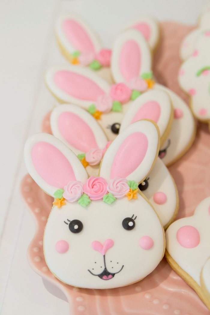 Bunny Cookies from a Some Bunny is One Birthday Party on Kara's Party Ideas | KarasPartyIdeas.com (39)