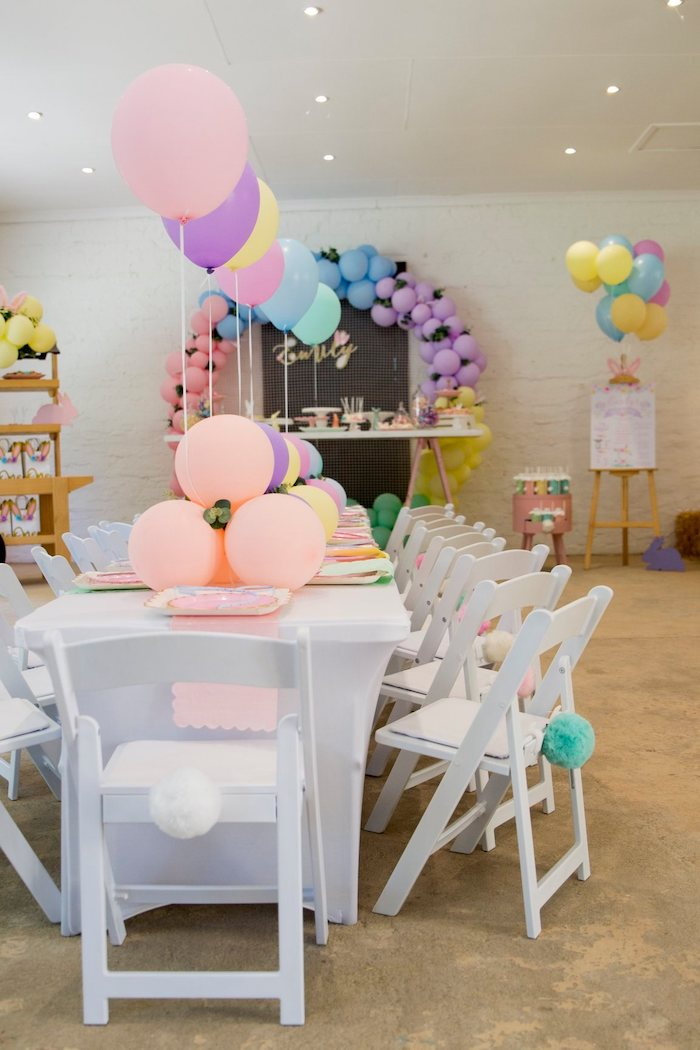Bunny-inspired Pastel Guest Table from a Some Bunny is One Birthday Party on Kara's Party Ideas | KarasPartyIdeas.com (38)