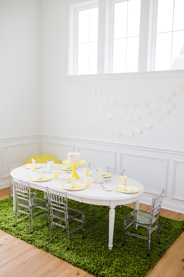 Yellow + White Spring Play Date Party Table from The Little Rabbit Inspired Spring Play Date Party on Kara's Party Ideas | KarasPartyIdeas.com (46)