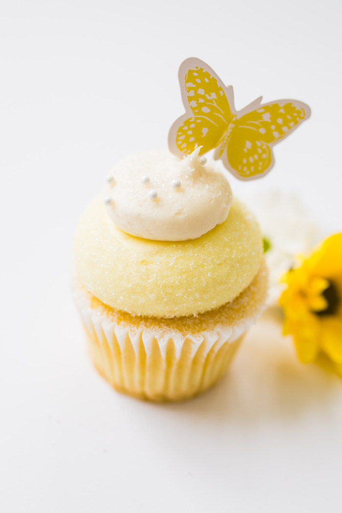 Yellow Butterfly Cupcake from The Little Rabbit Inspired Spring Play Date Party on Kara's Party Ideas | KarasPartyIdeas.com (43)