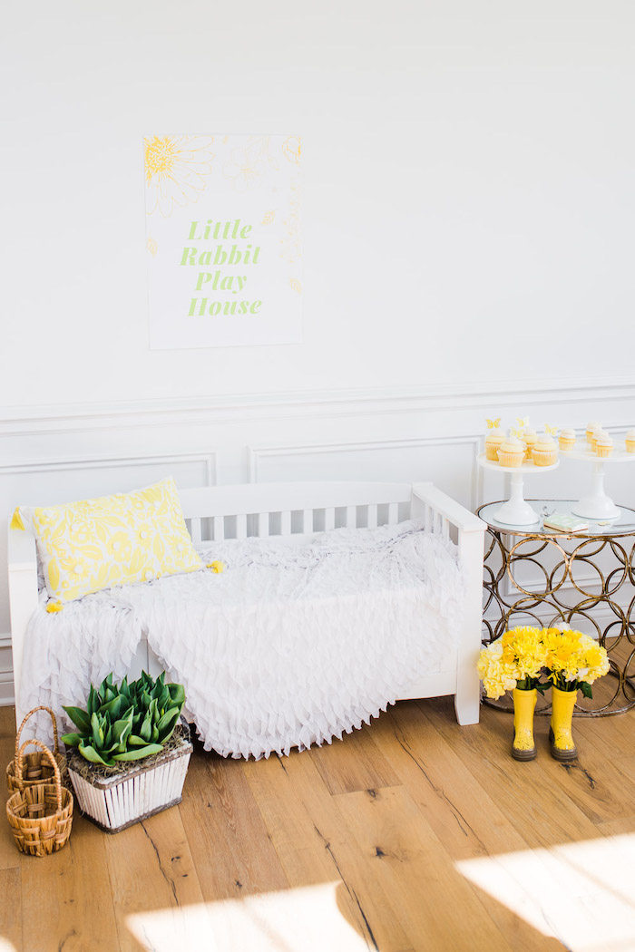 Little Rabbit Playhouse Lounge + Photo Booth from The Little Rabbit Inspired Spring Play Date Party on Kara's Party Ideas | KarasPartyIdeas.com (26)
