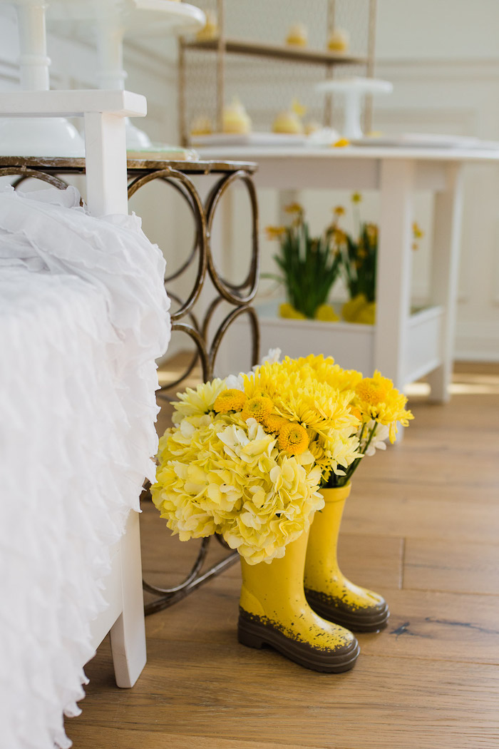 Yellow Rain Boot Blooms from The Little Rabbit Inspired Spring Play Date Party on Kara's Party Ideas | KarasPartyIdeas.com (22)