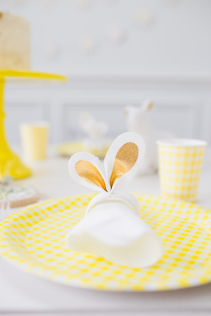 Bunny Ear Napkin Ring + Yellow Table Setting from The Little Rabbit Inspired Spring Play Date Party on Kara's Party Ideas | KarasPartyIdeas.com (49)