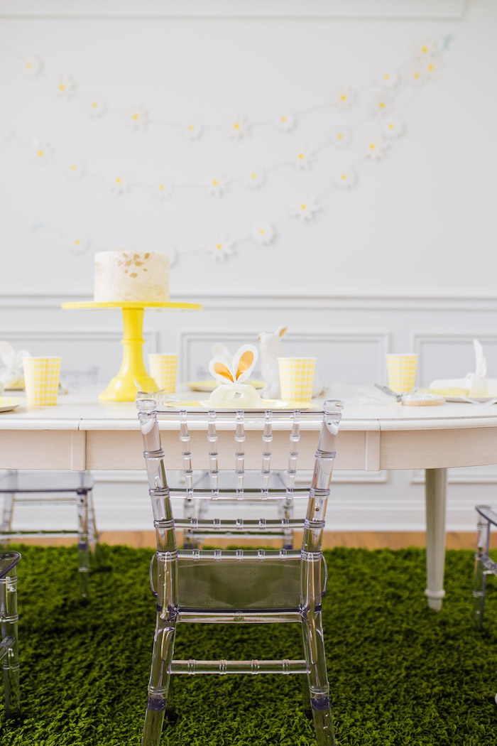 Yellow + White Spring Play Date Party Table from The Little Rabbit Inspired Spring Play Date Party on Kara's Party Ideas | KarasPartyIdeas.com (48)