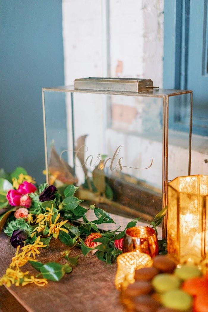 Glass Card Holder from a Tropical Floral Urban Wedding on Kara's Party Ideas | KarasPartyIdeas.com (15)