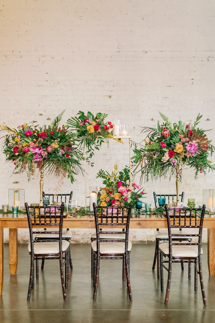 Tropical Dining Table from a Tropical Floral Urban Wedding on Kara's Party Ideas | KarasPartyIdeas.com (14)