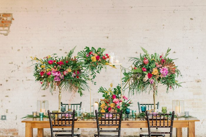 Tropical Dining Table from a Tropical Floral Urban Wedding on Kara's Party Ideas | KarasPartyIdeas.com (13)
