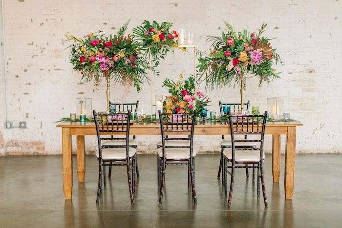Tropical Dining Table from a Tropical Floral Urban Wedding on Kara's Party Ideas | KarasPartyIdeas.com (12)