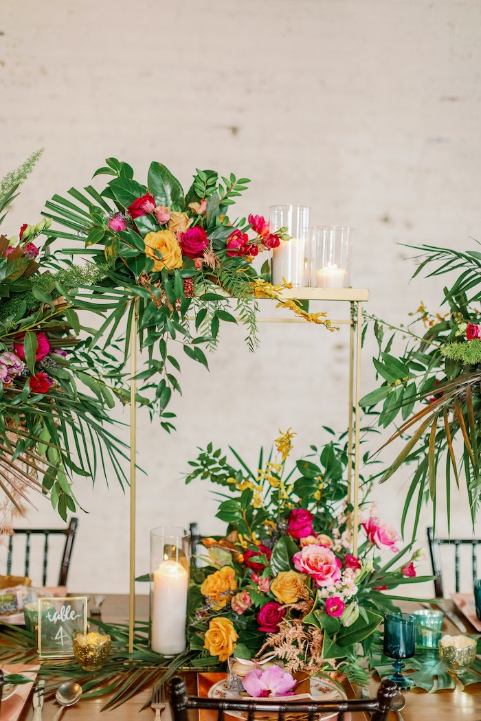 Gorgeous Gold Tropical Table Centerpiece from a Tropical Floral Urban Wedding on Kara's Party Ideas | KarasPartyIdeas.com (11)