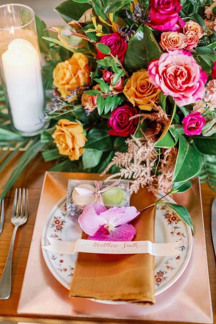 Tropical Table Setting from a Tropical Floral Urban Wedding on Kara's Party Ideas | KarasPartyIdeas.com (9)
