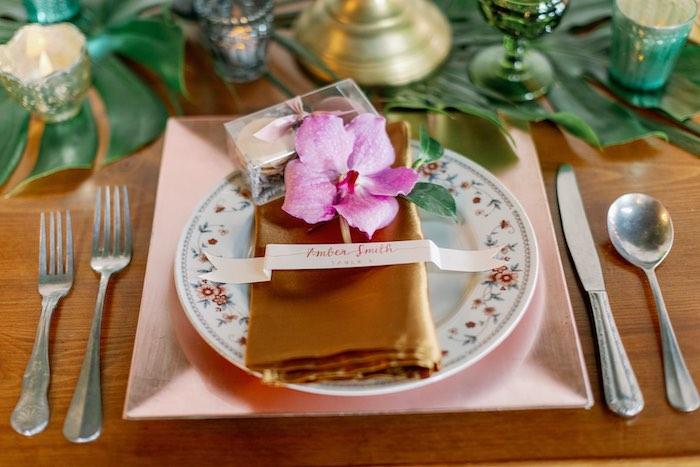 Tropical Table Setting from a Tropical Floral Urban Wedding on Kara's Party Ideas | KarasPartyIdeas.com (8)