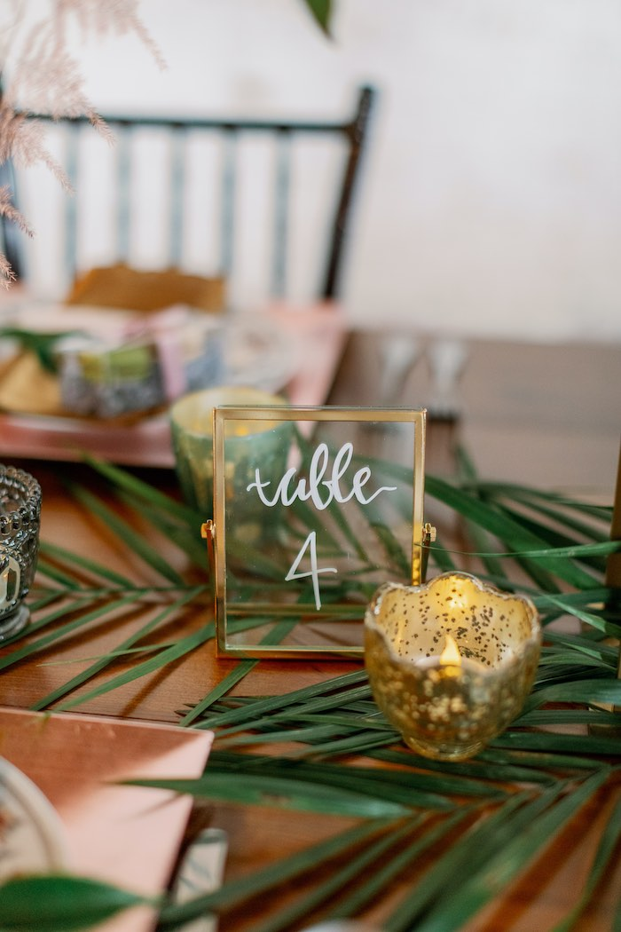 Wire and glass table number from a Tropical Floral Urban Wedding on Kara's Party Ideas | KarasPartyIdeas.com (7)