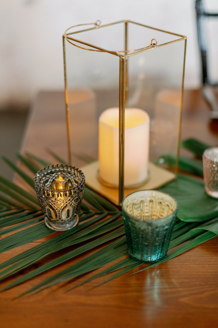Modern Candle Lantern from a Tropical Floral Urban Wedding on Kara's Party Ideas | KarasPartyIdeas.com (6)