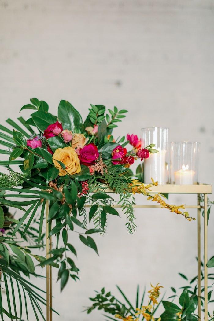 Tropical Centerpiece from a Tropical Floral Urban Wedding on Kara's Party Ideas | KarasPartyIdeas.com (4)