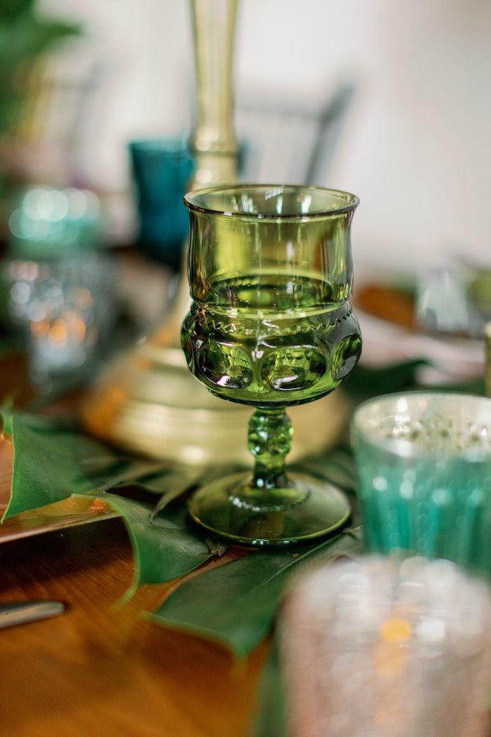 Green goblet from a Floral Urban Wedding on Kara's Party Ideas | KarasPartyIdeas.com (3)