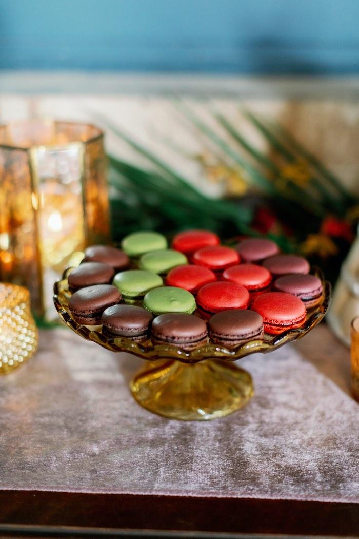 Macaron Dessert Platter from a Tropical Floral Urban Wedding on Kara's Party Ideas | KarasPartyIdeas.com (41)