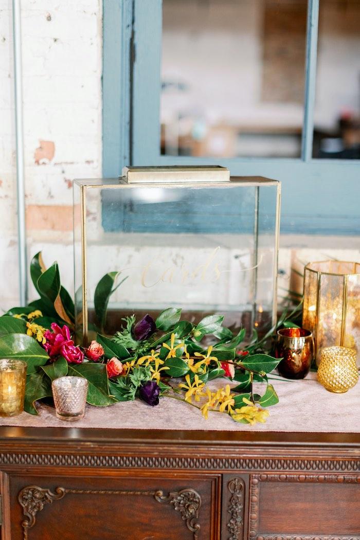 Glass Card Holder from a Tropical Floral Urban Wedding on Kara's Party Ideas | KarasPartyIdeas.com (40)