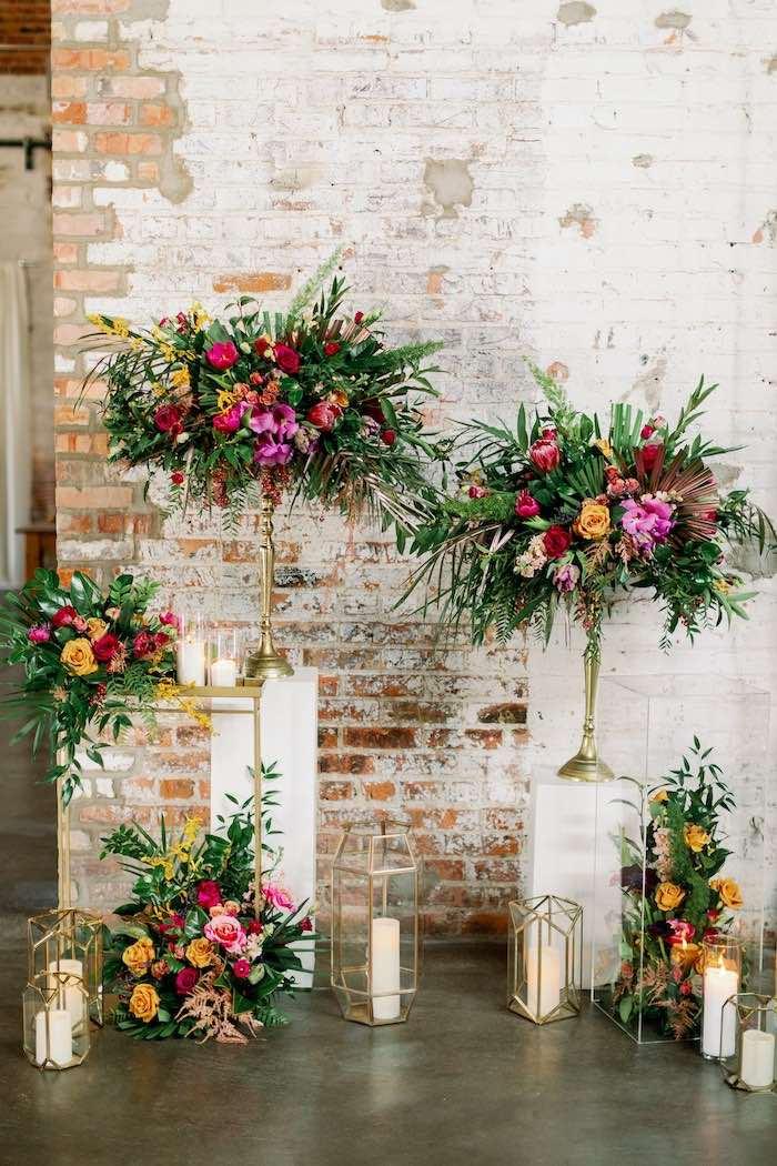 Tropical Bloom Backdrop from a Tropical Floral Urban Wedding on Kara's Party Ideas | KarasPartyIdeas.com (38)