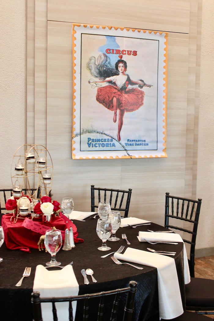 Circus Themed Guest Table from a Vintage Circus Baby Shower on Kara's Party Ideas | KarasPartyIdeas.com (3)