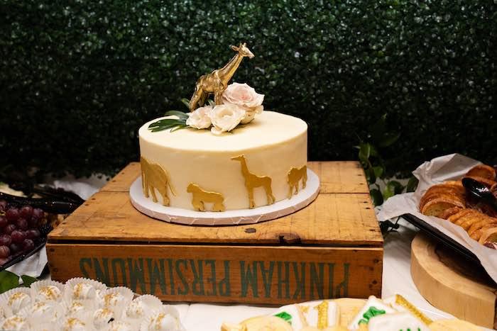 Jungle/Safari Animal Cake from a Wild ONE Golden First Birthday Party on Kara's Party Ideas | KarasPartyIdeas.com (23)