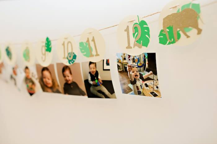 Jungle Themed First Year Photo Banner from a Wild ONE Golden First Birthday Party on Kara's Party Ideas | KarasPartyIdeas.com (18)
