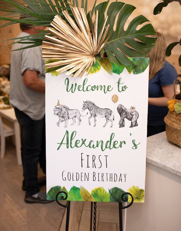 Jungle Safari Themed Welcome Sign from a Wild ONE Golden First Birthday Party on Kara's Party Ideas | KarasPartyIdeas.com (33)