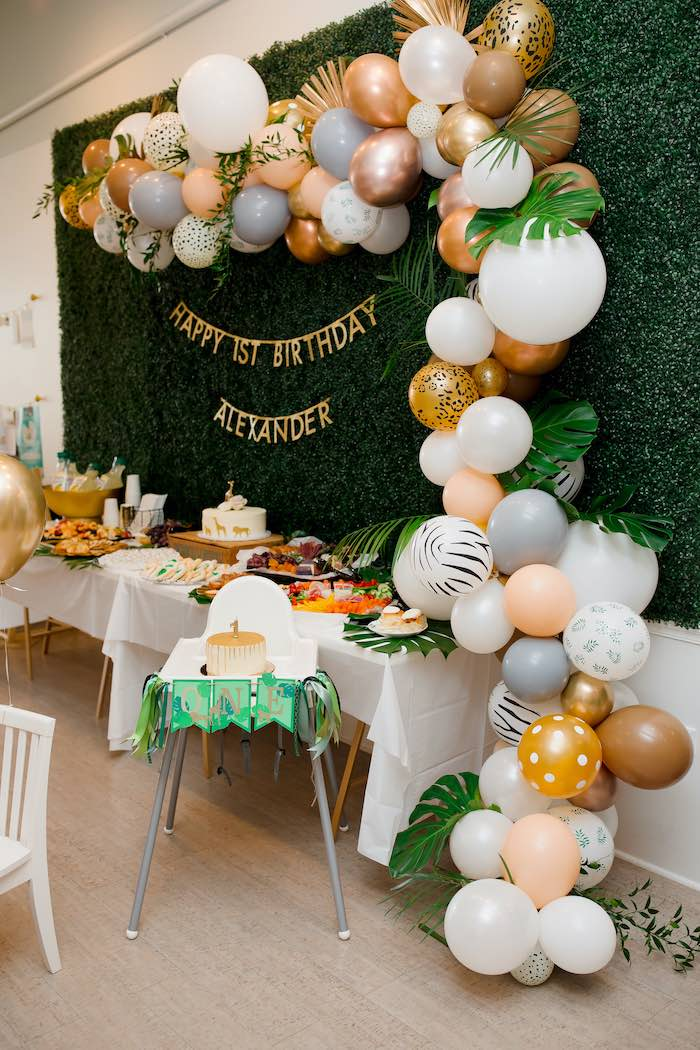 Jungle Safari Party Table from a Wild ONE Golden First Birthday Party on Kara's Party Ideas | KarasPartyIdeas.com (14)