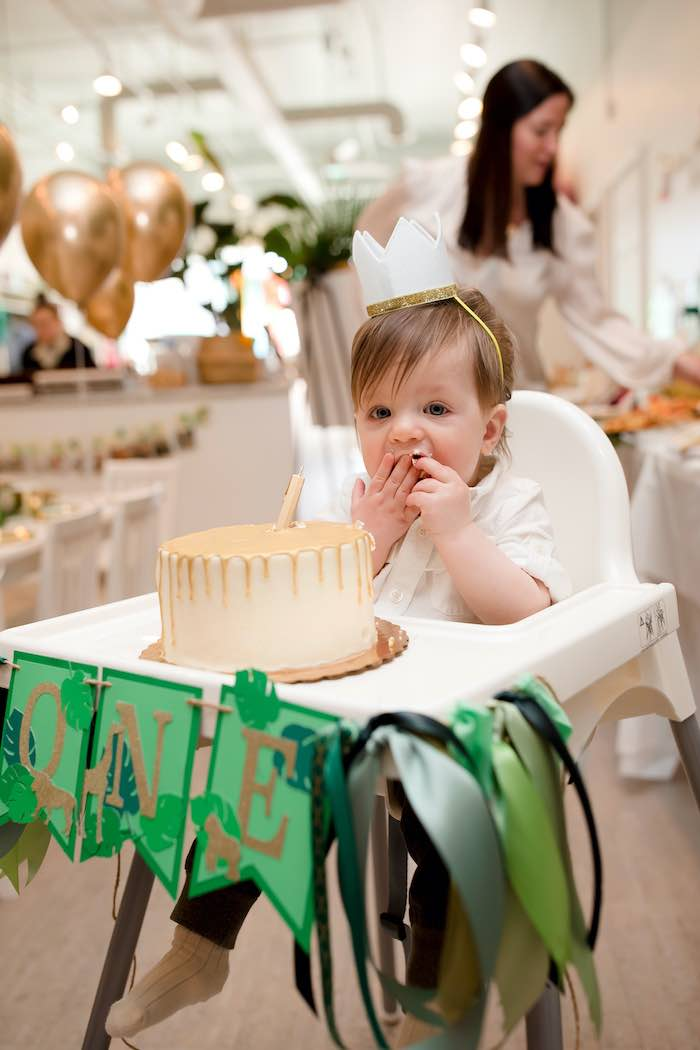Cake Smash from a Wild ONE Golden First Birthday Party on Kara's Party Ideas | KarasPartyIdeas.com (10)