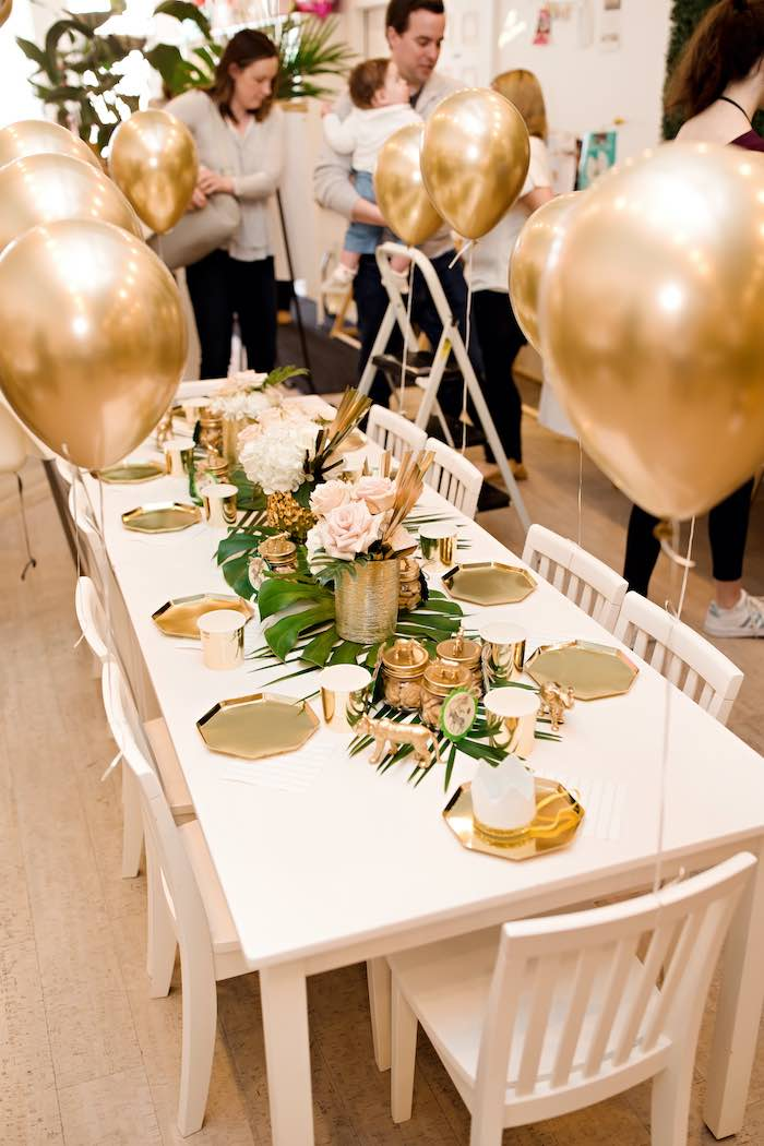 Glam Safari Kid Table from a Wild ONE Golden First Birthday Party on Kara's Party Ideas | KarasPartyIdeas.com (8)