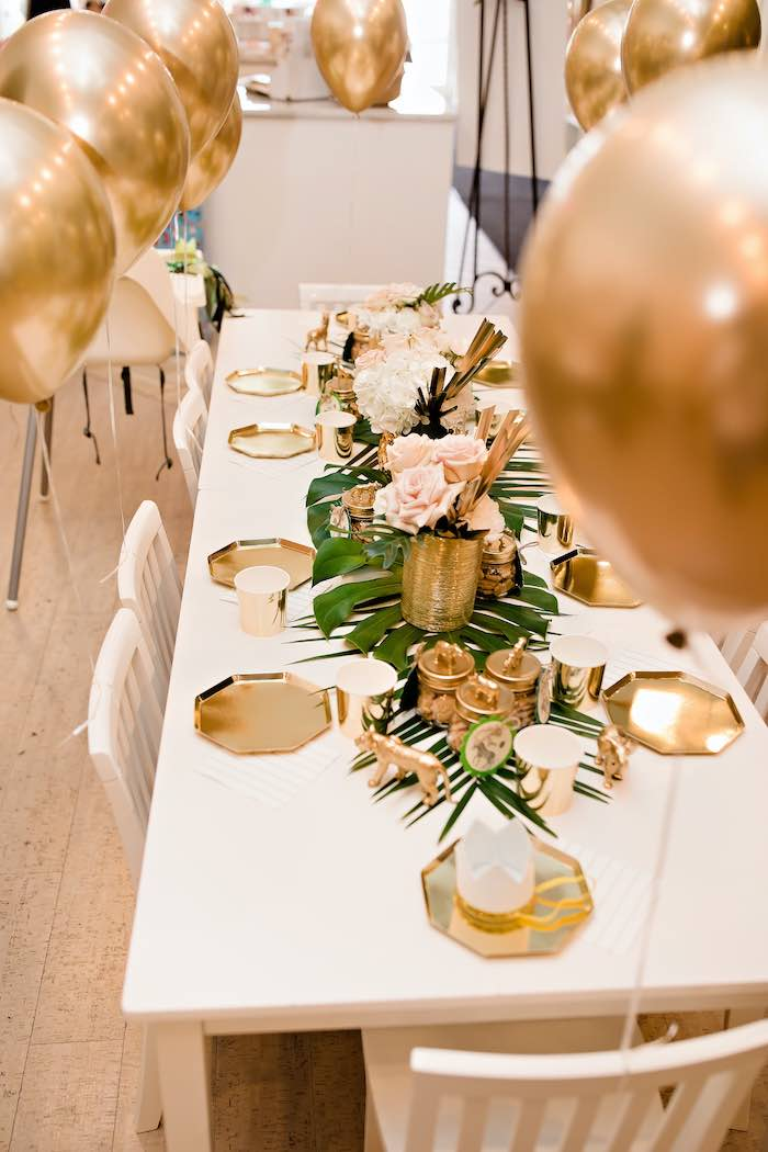 Glam Safari Kid Table from a Wild ONE Golden First Birthday Party on Kara's Party Ideas | KarasPartyIdeas.com (7)
