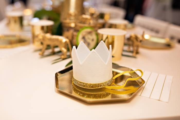 Gold Plate & Crown Table Setting from a Wild ONE Golden First Birthday Party on Kara's Party Ideas | KarasPartyIdeas.com (6)