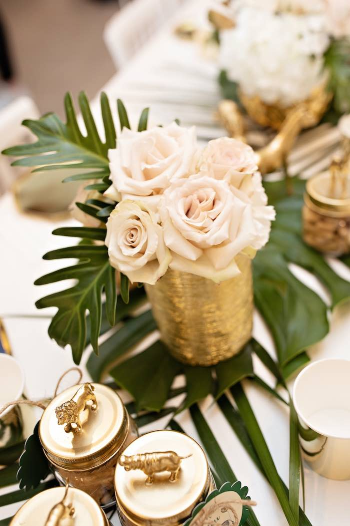 Jungle Leaf Floral Centerpiece from a Wild ONE Golden First Birthday Party on Kara's Party Ideas | KarasPartyIdeas.com (32)