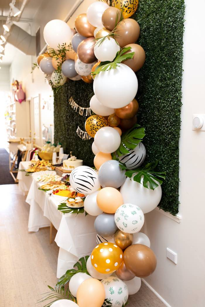 Jungle-inspired Balloon Garland from a Wild ONE Golden First Birthday Party on Kara's Party Ideas | KarasPartyIdeas.com (25)