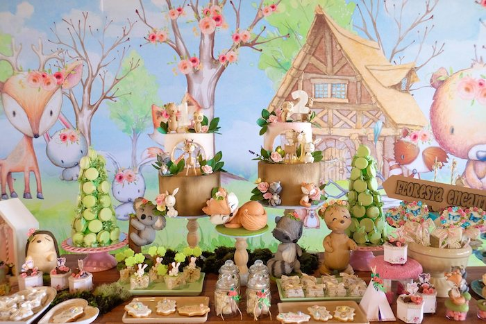 Woodland Dessert Table from a Woodland Animal Birthday Party on Kara's Party Ideas | KarasPartyIdeas.com (25)