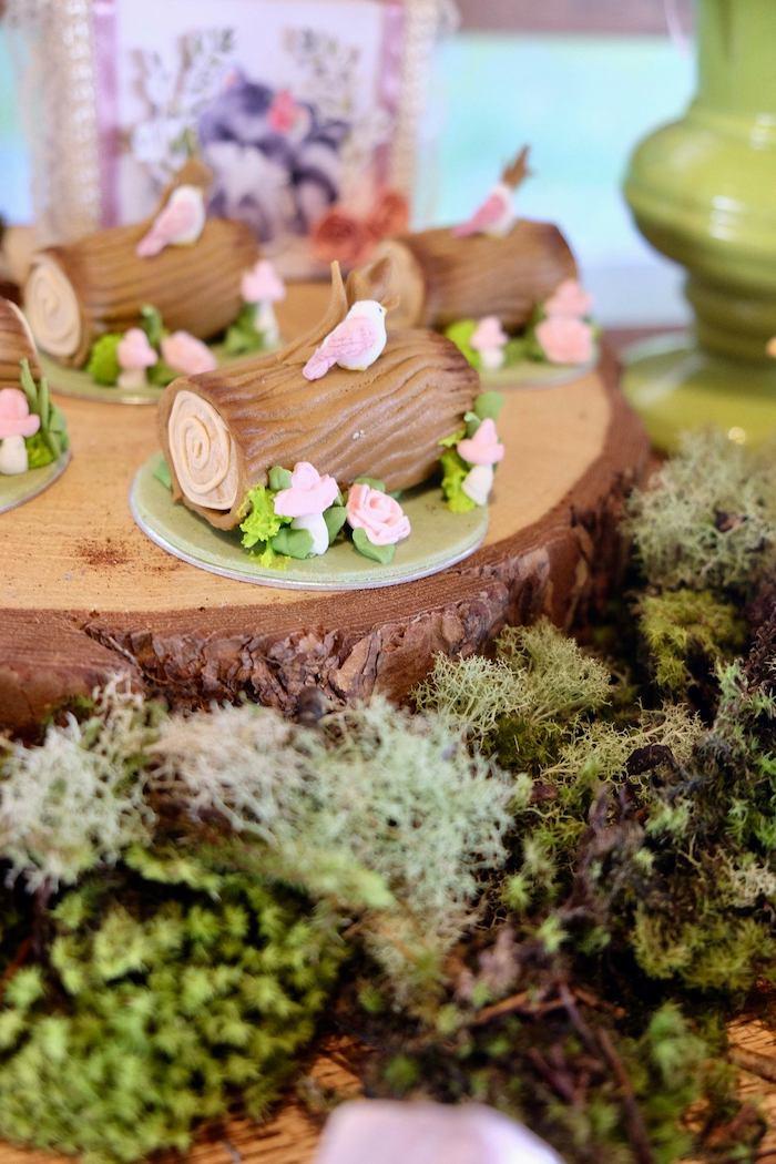 Mini Tree Stump Cakes from a Woodland Animal Birthday Party on Kara's Party Ideas | KarasPartyIdeas.com (5)