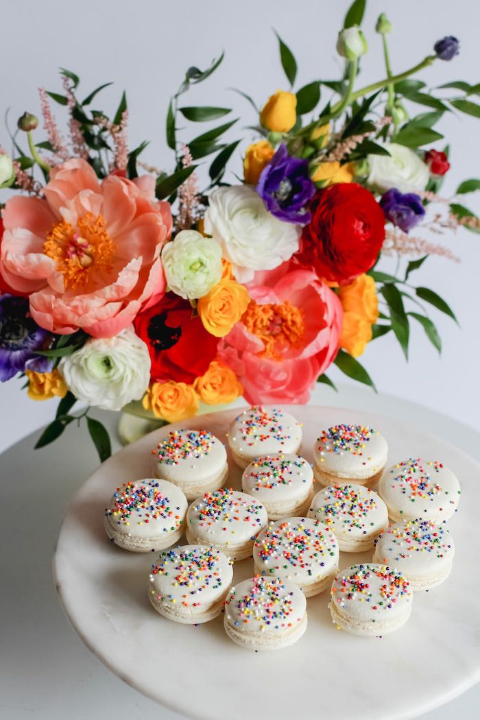 "Rainbow Sprinkled White Macarons from a ""Not All Heroes Wear Capes"" COVID-19 Essential Workers Tribute on Kara's Party Ideas 