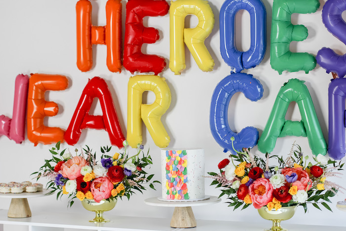"Rainbow Sweet Table from a ""Not All Heroes Wear Capes"" COVID-19 Essential Workers Tribute on Kara's Party Ideas 