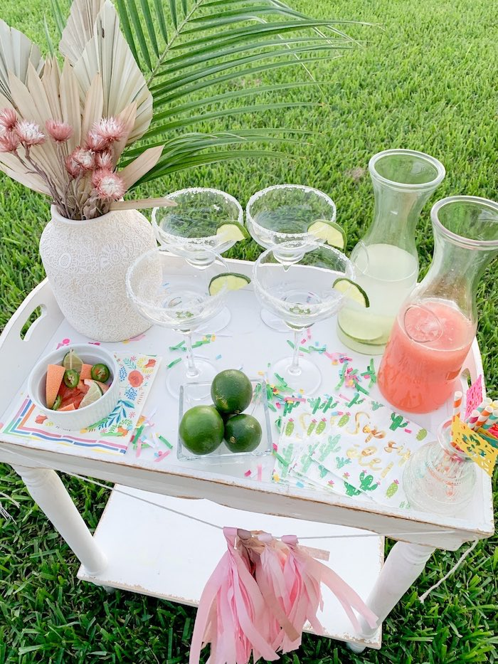 Fiesta Themed Beverage Cart by a