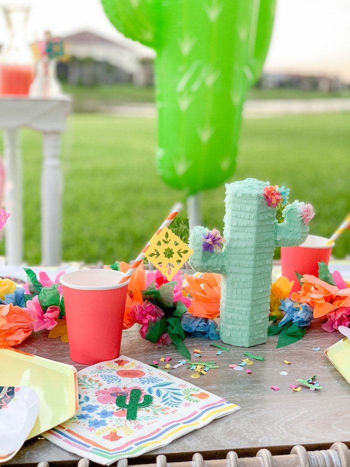 Mini Cactus Pinata centerpiece from a