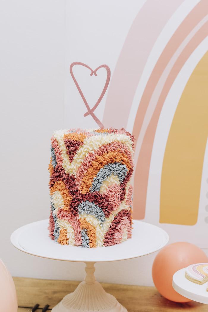 "Boho Rainbow Cake from a ""There's No Place Like Home"" Boho Rainbow Quarantine Party on Kara's Party Ideas | KarasPartyIdeas.com (14)"