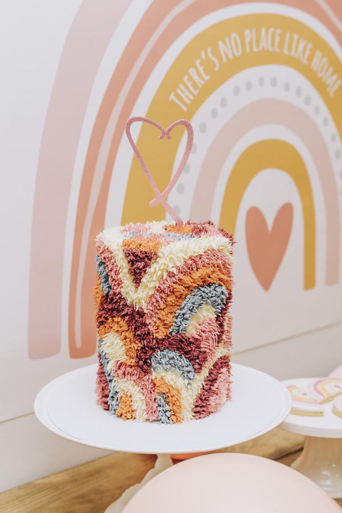 "Boho Rainbow Cake from a ""There's No Place Like Home"" Boho Rainbow Quarantine Party on Kara's Party Ideas | KarasPartyIdeas.com (11)"