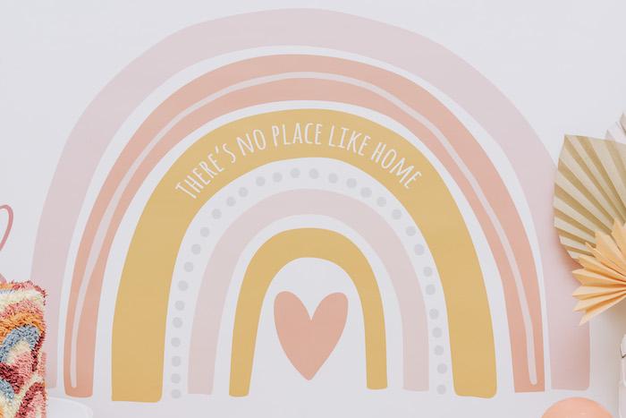 "Rainbow Backdrop from a ""There's No Place Like Home"" Boho Rainbow Quarantine Party on Kara's Party Ideas | KarasPartyIdeas.com (10)"