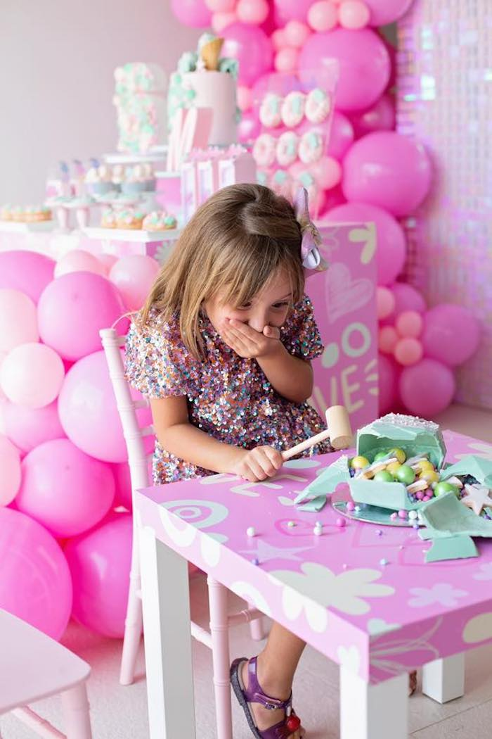 Smash Pinata Cake from a Barbie Quarantine Birthday Party + Parade on Kara's Party Ideas | KarasPartyIdeas.com (14)
