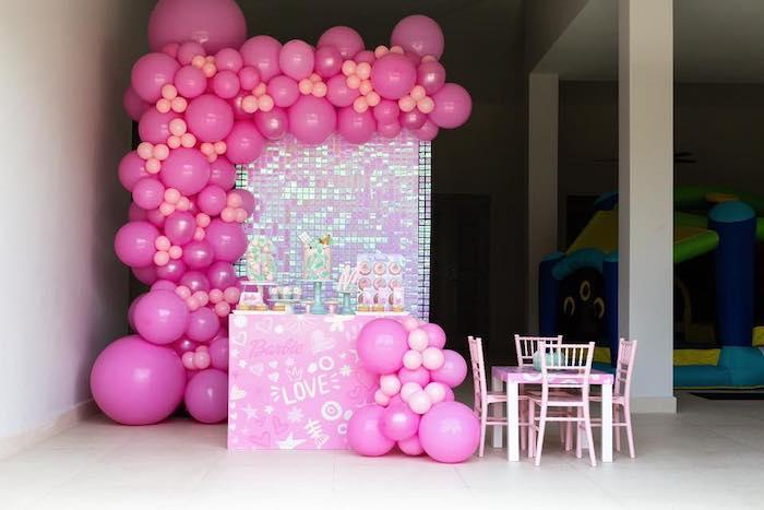 Barbie Themed Dessert Table from a Barbie Quarantine Birthday Party + Parade on Kara's Party Ideas | KarasPartyIdeas.com (13)