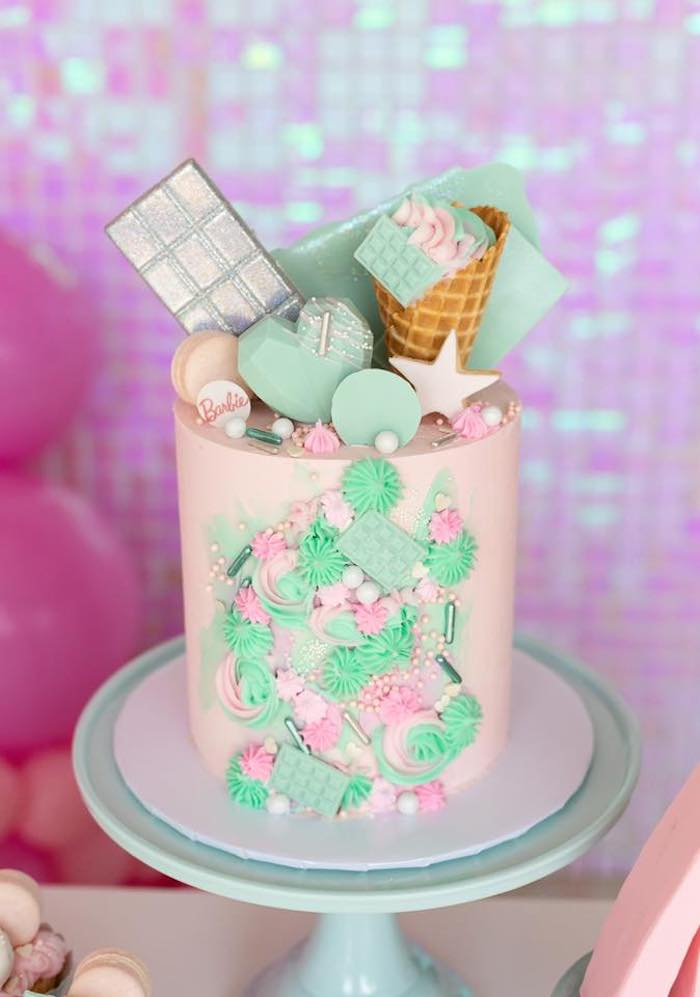 Candy + Dessert-covered Cake from a Barbie Quarantine Birthday Party + Parade on Kara's Party Ideas | KarasPartyIdeas.com (12)