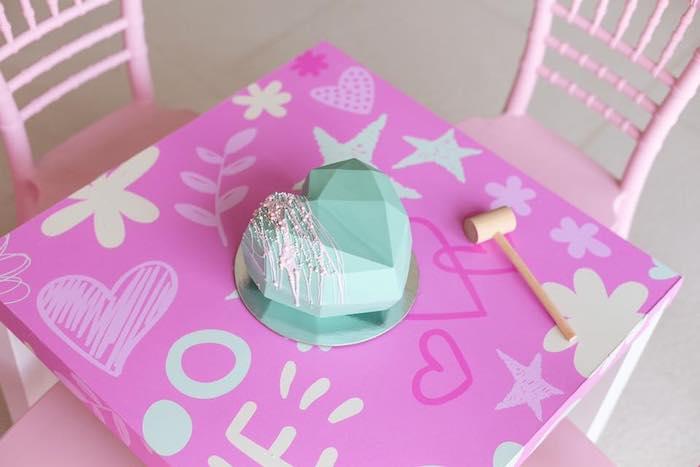 Smash Geometric Heart Pinata Cake from a Barbie Quarantine Birthday Party + Parade on Kara's Party Ideas | KarasPartyIdeas.com (19)